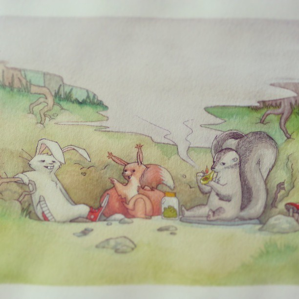 Here's an older watercolor sketch - 'Party Animals'. :-)