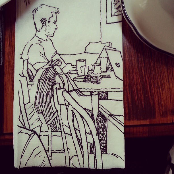 Stealth napkin doodle of a fellow Brooklynite working at a cafe.