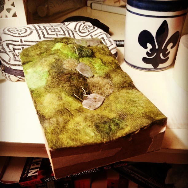 In the middle of constructing a section of mossy trail to use as a base for a model. :)