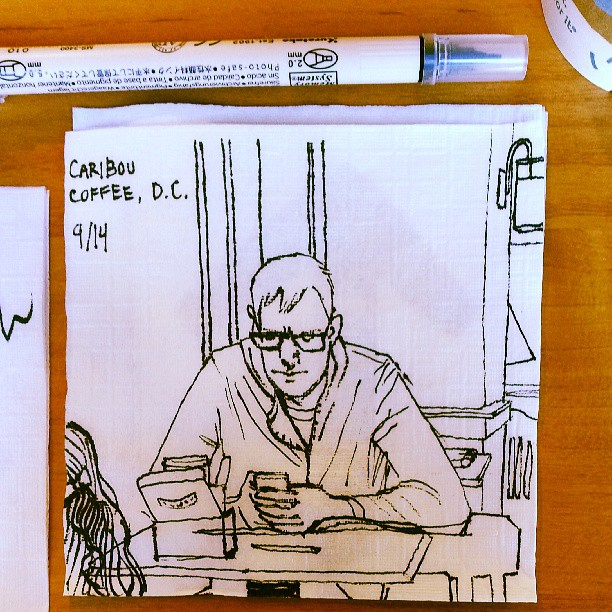 Napkin doodle at Caribou Coffee in D.C.!