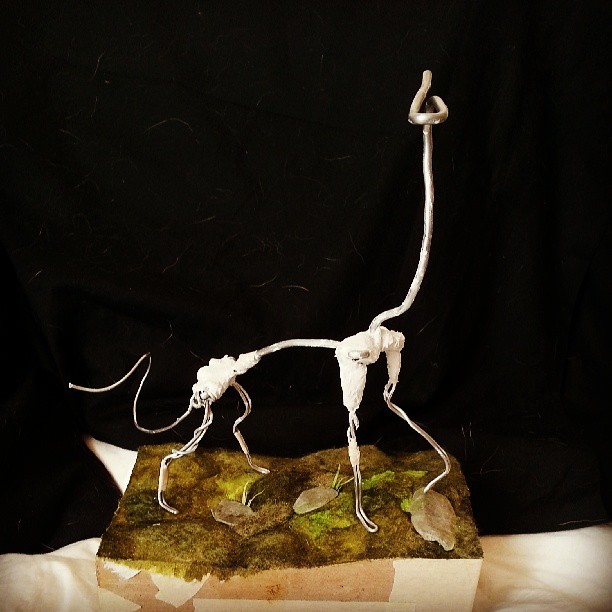 The beginnings of an armature for a creature I'm making! Waiting for the plaster to dry.
