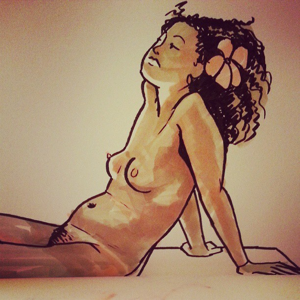 One of my sketches from tonight's life drawing at Bunnycutlet. Great model!
