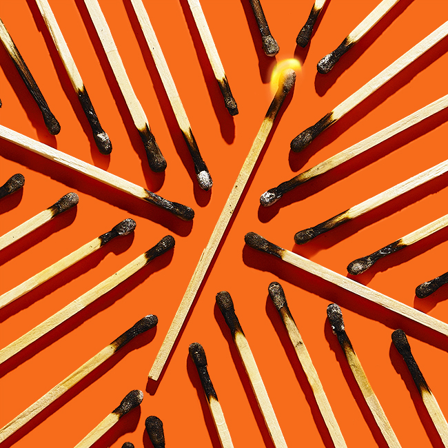 Styling by Genna Moss. Art Direction by Sharar Behzad.   Conceptual still life photograph of burnt matches.
