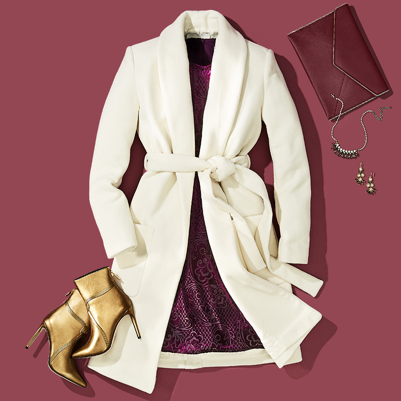 Styling by Anna Lemi.   OOTD featuring women's fall clothing on a maroon background.