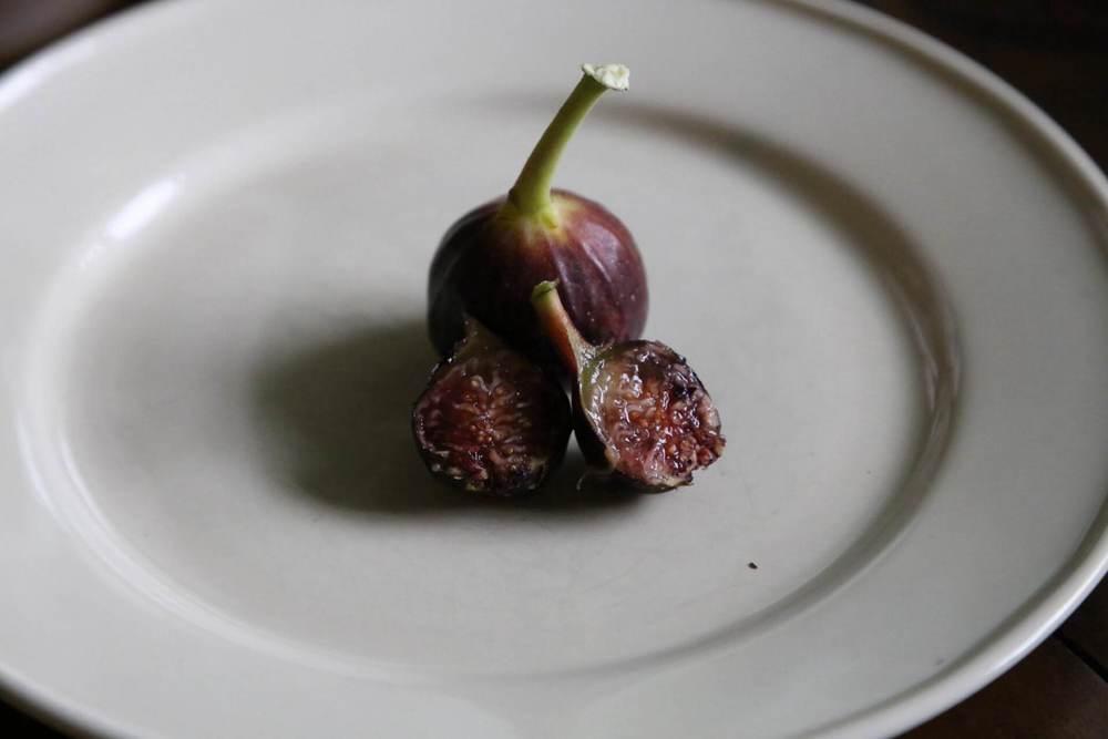 A ripe pair of Ronde de Bordeaux figs on a plate.