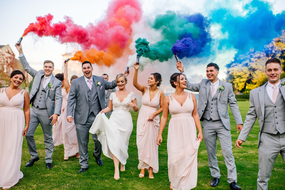 15 Down Hall Country House Hotel Bridal Party Smoke Bomb Wedding Photography.jpg