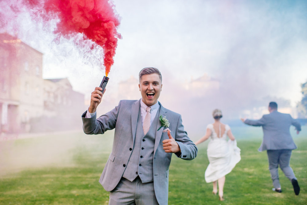16 Down Hall Country House Hotel Bridal Party Smoke BombWedding Photography.jpg
