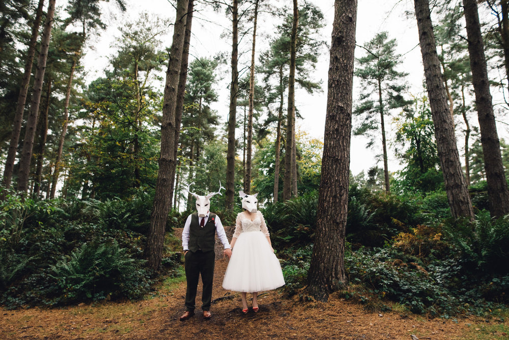 15 Tackeroo Caravan Site Woodland Weddings Staffordshire St John's House Bride Groom Forest Animal Paper Heads.jpg
