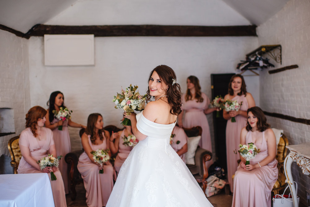 25 Lillibrooke Manor Berkshire Wedding Photography Bride Bridesmaids Before the ceremony.jpg