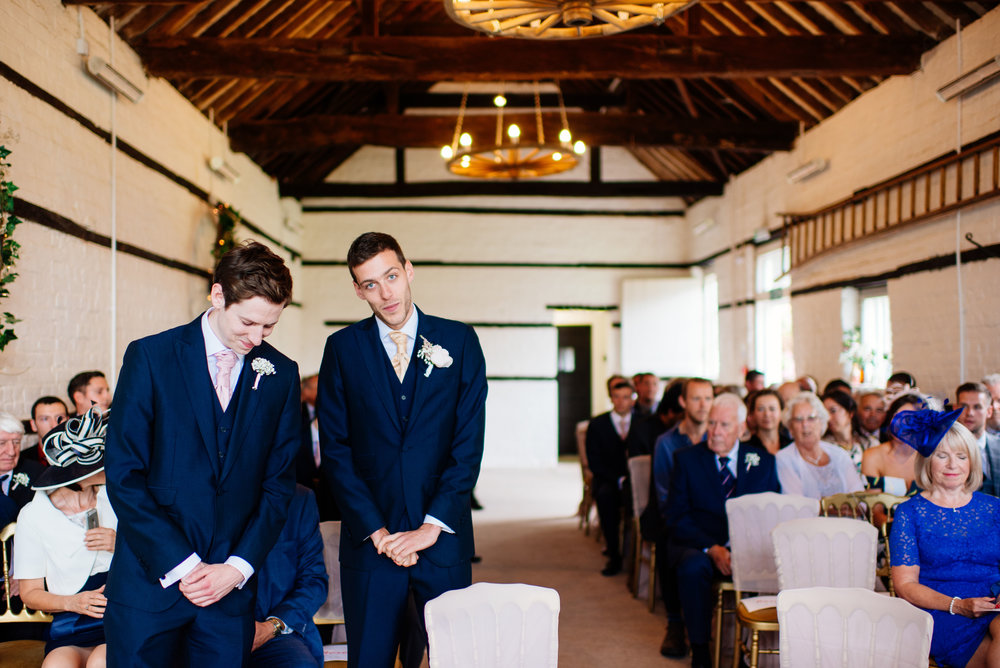 16 Lillibrooke Manor Berkshire Wedding Photography Groom Waiting.jpg