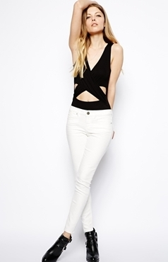 ASOS Sleeveless bodysuit with wrap front, $30.49