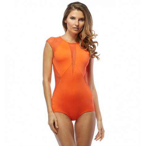 City Slick High-neck Maillot by Carmen Marc Valvo ($121.00, multiple colors available)