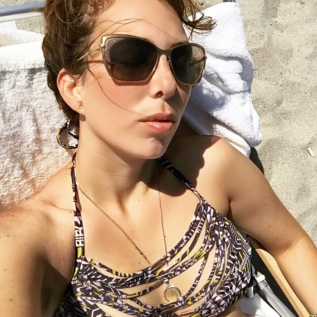 Catching some sun in my VS Drape Strap Bikini...