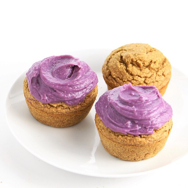"Everything-Free Vanilla Cupcakes with Purple Sweet Potato Frosting 💜By ""everything-free"" I mean #glutenfree #sugarfree #soyfree #oilfree and #nutfree and #dairyfree! And that frosting...😯 Recipe at #feastingonfruit.com (link in bio)"