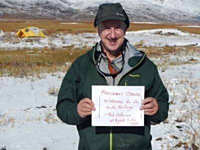 Northern Passages author, Bob Osborne, urging President Obama to permanently protect the Arctic National Wildlife Refuge as wilderness.  Photo taken at Agiak Lake, Gates of the Arctic National Park, in August 2014.
