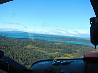 The Bristol Bay watershed in Wood-Tik Chik State Park, downstream from the proposed Pebble Mine, as seen from the cockpit of a de Havilland Beaver.