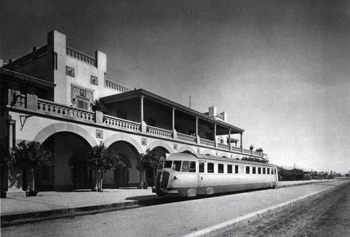 New Fiat train in 1930's Tripoli, during the Italian colonial era in Libya. This train station was where the Jews of Tripoli were rounded up by the Nazis in 1940.