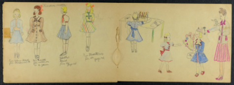 Drawings by Eva's sister Vera who died in Auschwitz, aged 13.