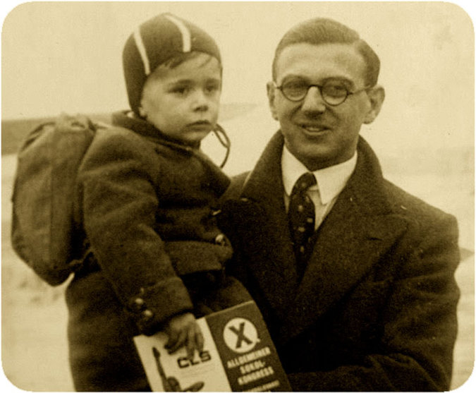 Nicholas Winton with one of the children he saved, Prague 1938