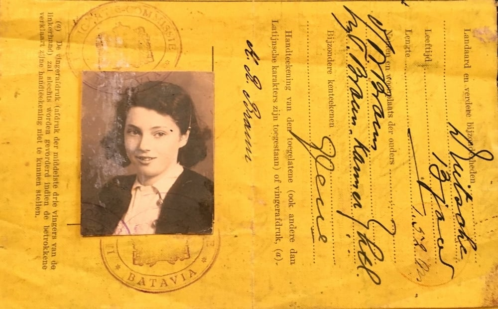 Mimi's 1939 ID papers, issued by Dutch authorities in Java. Mimi is 13 years old in this picture.