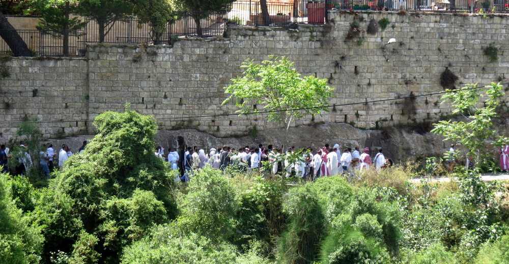 Pilgrims in the village of Ein Karem, just outside Jerusalem