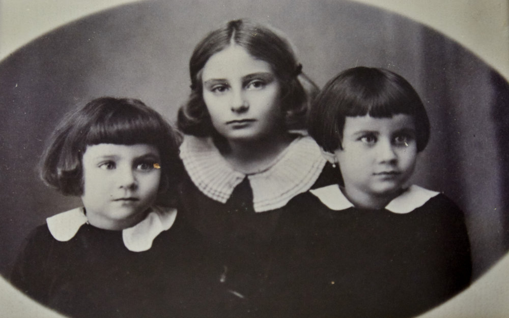 Three sisters. Left to Right - Youngest Marta, oldest Erna and Baba Keimovits, around 1933, Nyirbator, Hungary.