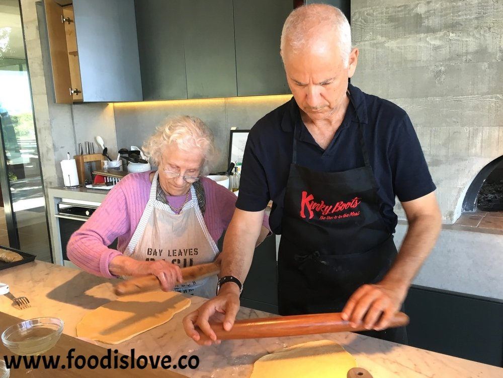 Baba baking yeast rolls with her son Alan Schwartz. When he's not cooking his mother's specialties, he's branched out, baking artisanal breads using different flours and grains  .