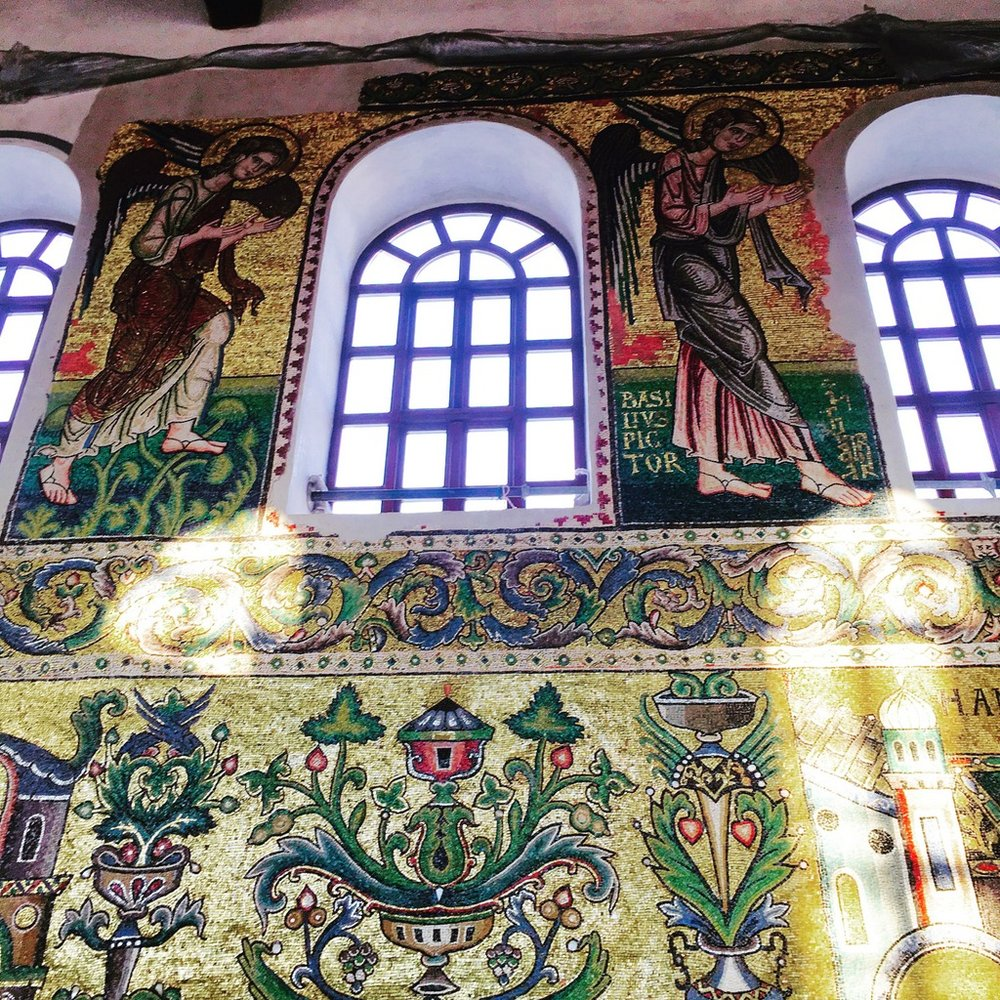 The mosaics change colour depending where the sun hits them.