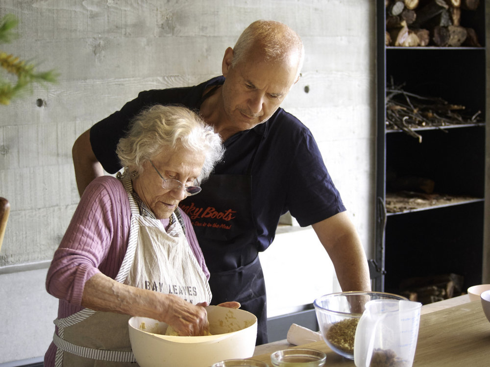 Baba baking with her son Alan Schwartz, who has become a passionate bread-maker.