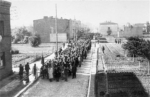 Jews being marched to the Chelmno death camp when the Lodz Ghetto was liquidated in August 1944.