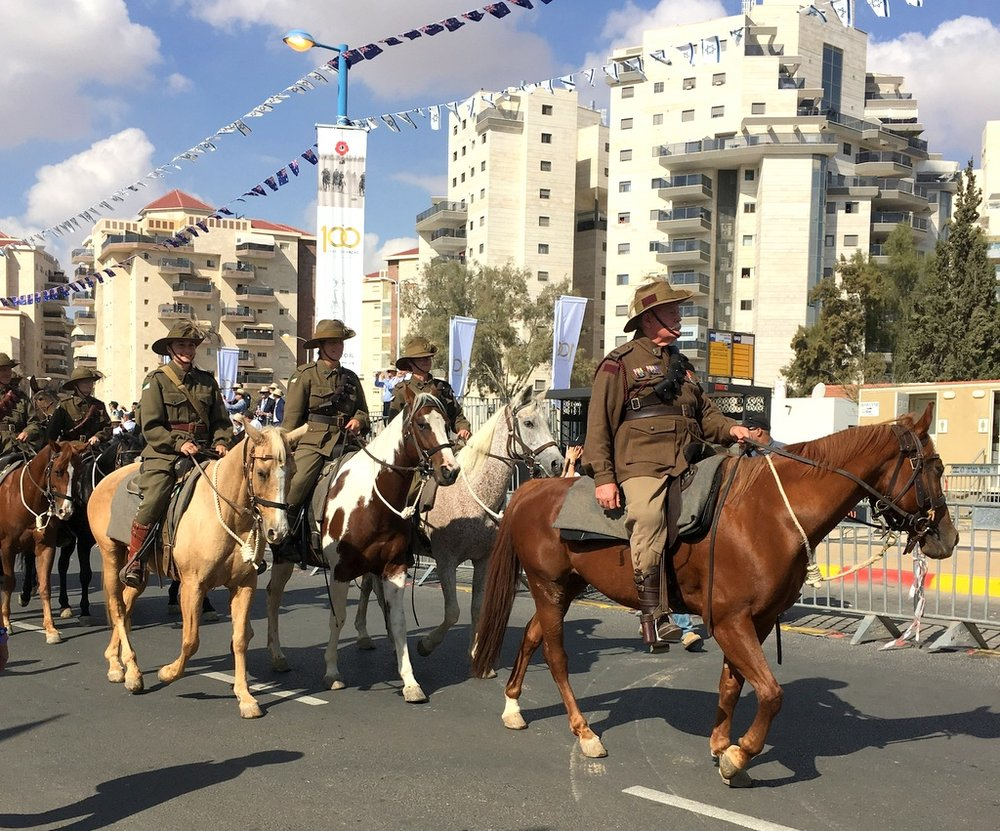 The 4th and 12th Australian Light Horse and the descendants of the soldiers who fought here 100 years ago, ride through the streets of Beersheba, as part of the Centennary celebrations.