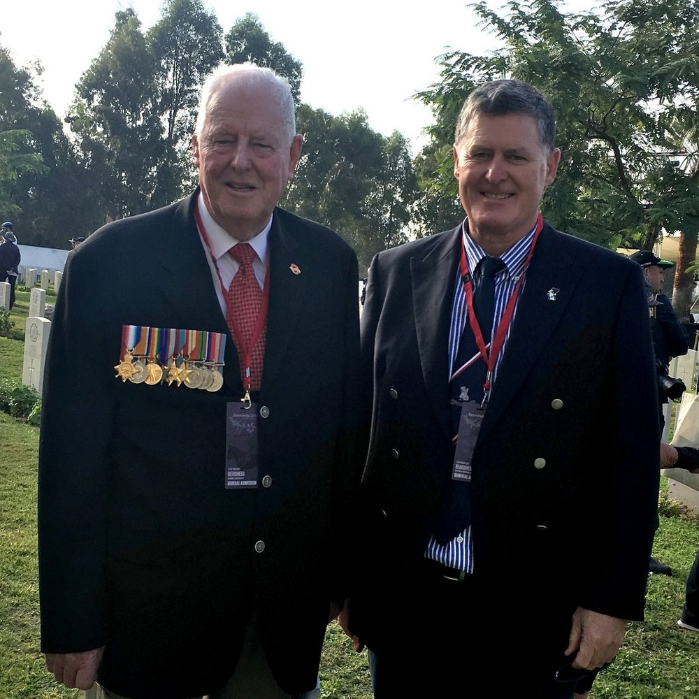 Brian Cantwell, left, the son of Sgt John Cantwell, who was decorated for his part in the Cavalary charge at Beersheba. Brian is wearing his father's medals. David Reed, right, is also here to pay his respects.