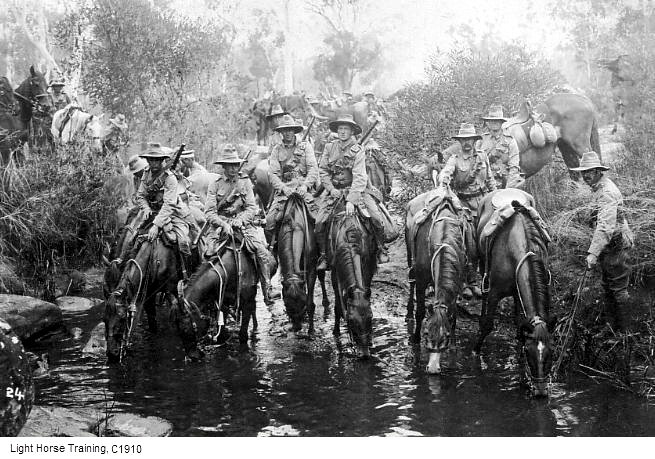The Light Horse, training in Australia, before World War One. (Australian Light Horse)