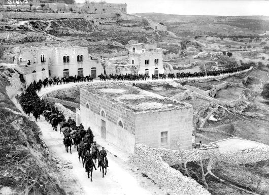 Australian Light Horse, Jerusalem 1917. Within 2 months of the Battle of Beersheba, Jerusalem fell to British and ANZAC troops.