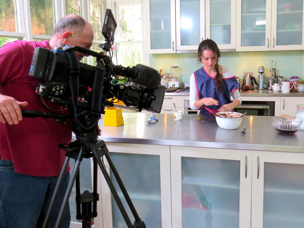 Emily Rice, Eva Grinston's granddaughter, waiting for Eva so we can film them baking Eva's Chocolate, Sour Cherry and Walnut cake for ABC-TV Compass programme, 'Taste of Memory'.