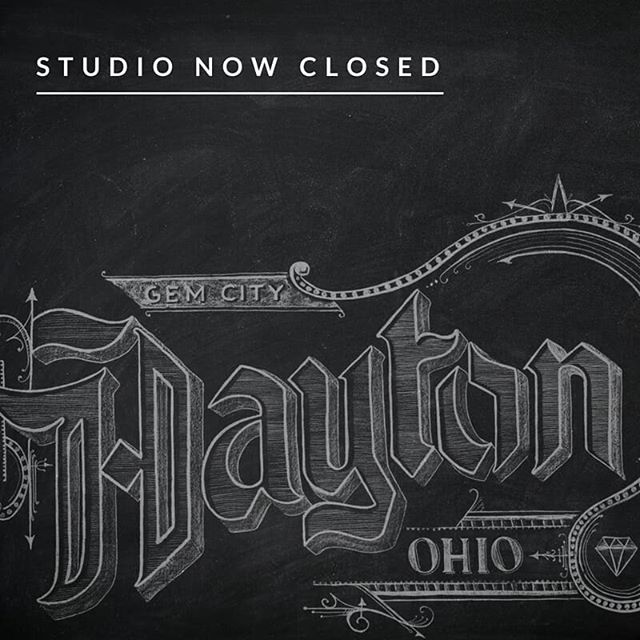 It was just about five years ago that I created my first chalkboard installation at @blackboximprov, right on my birthday (!) in 2013. I'm so, so grateful for the many people I've met across Dayton through this studio, relationships that have connected me more deeply to this city. And I'm going to miss the dust and ink on my hands and climbing around on ladders and just being in that flow state of design work. But it's time for the next thing now, and since there's only one of me, that next thing has to take priority.  So... follow @verdigrisbackdrops! #thanksdayton #solongandthanksforallthefish #wecanstillhangout #downtowndayton #daytonchalk