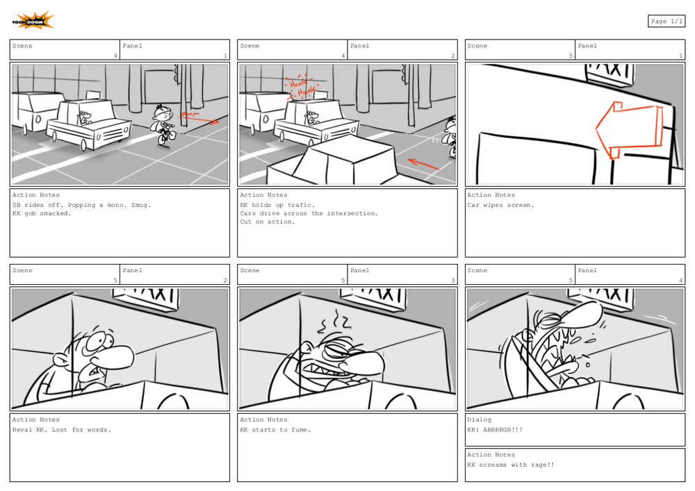 Clean up of two scenes. Adding panels to flesh out action.