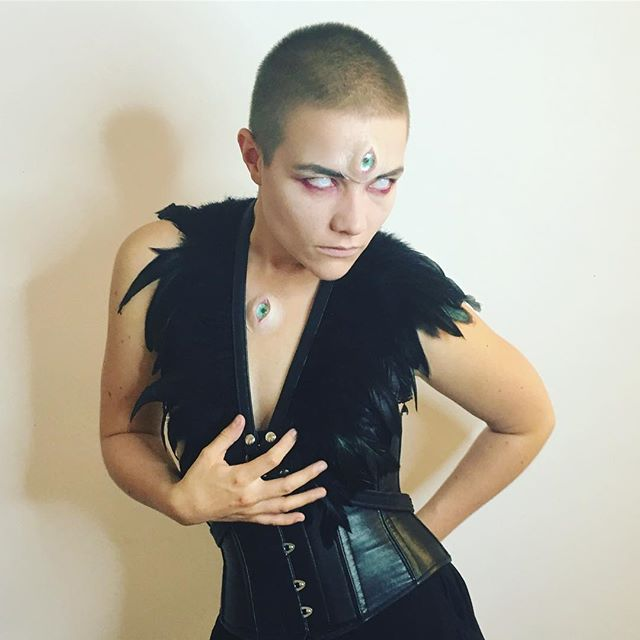 Leather & Feathers 🔪 picture by @chaz_aracil 🖤 #dresstokill #leather #feathers #thirdeye #iseeyou #witch #prosthetic #silicone #toomanyeyes #blind #contacts #makeup #lgbtq #queerlove #loveislove #berlin #fetish