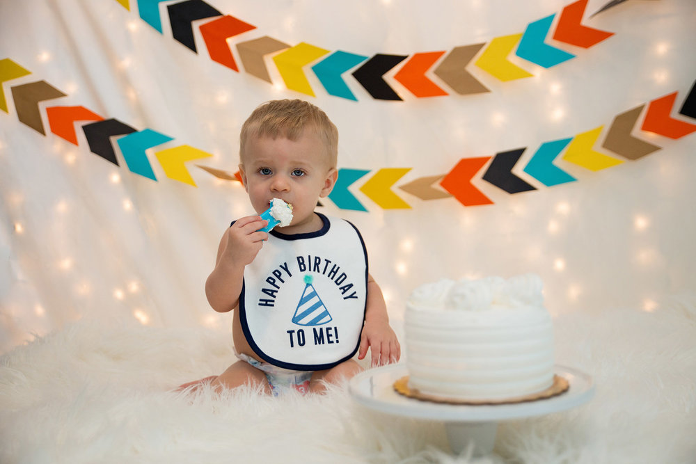 TJ was more interested in eating his cake than smashing it for his 1st Birthday Cake Smash in our Morristown NJ Home Studio!
