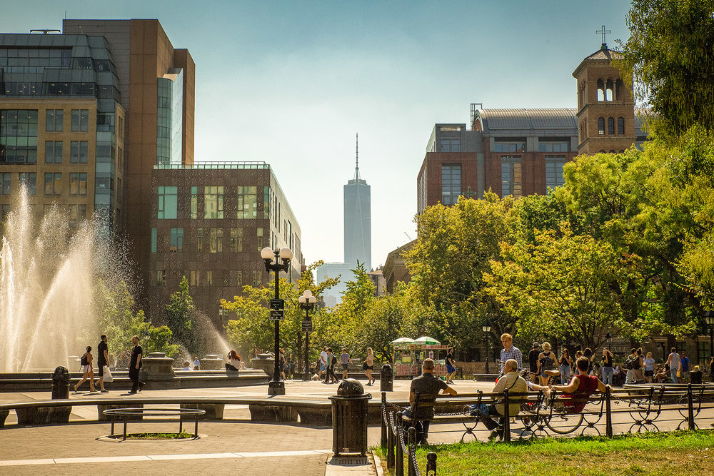 One World Trade Center as seen from Washington Square Park in New York City