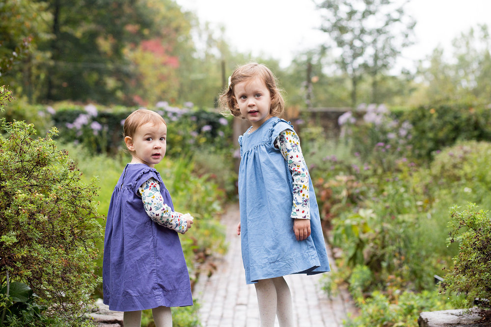 The Stawksi sisters explore the classic gardens at Cross Estate in Bernardsville, NJ.