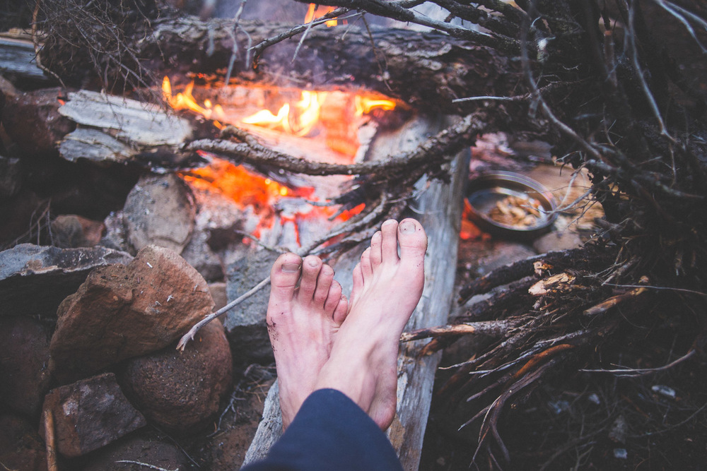 Dirty feet, a warm fire, andwhite chanterelles (Cantharellus subalbidus)cooking makes me a happy camper.