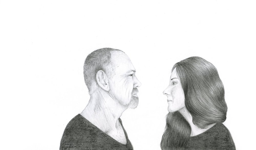 Father/Daughter,  2017. Graphite on Paper, 180mm x 225mm