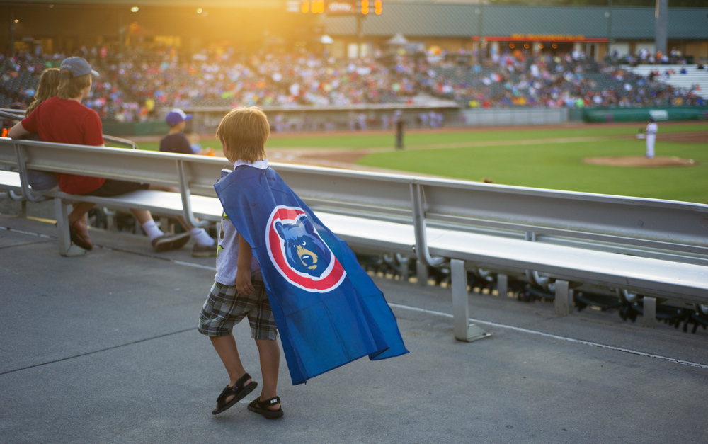Caden Elders, 5, of Maryville lets his cape flow in the breeze during the Tennessee Smokies versus the Jacksonville Suns baseball game at Smokies Stadium in Kodak Tuesday, Sep. 1, 2015. The team's final home game was fan appreciation themed.