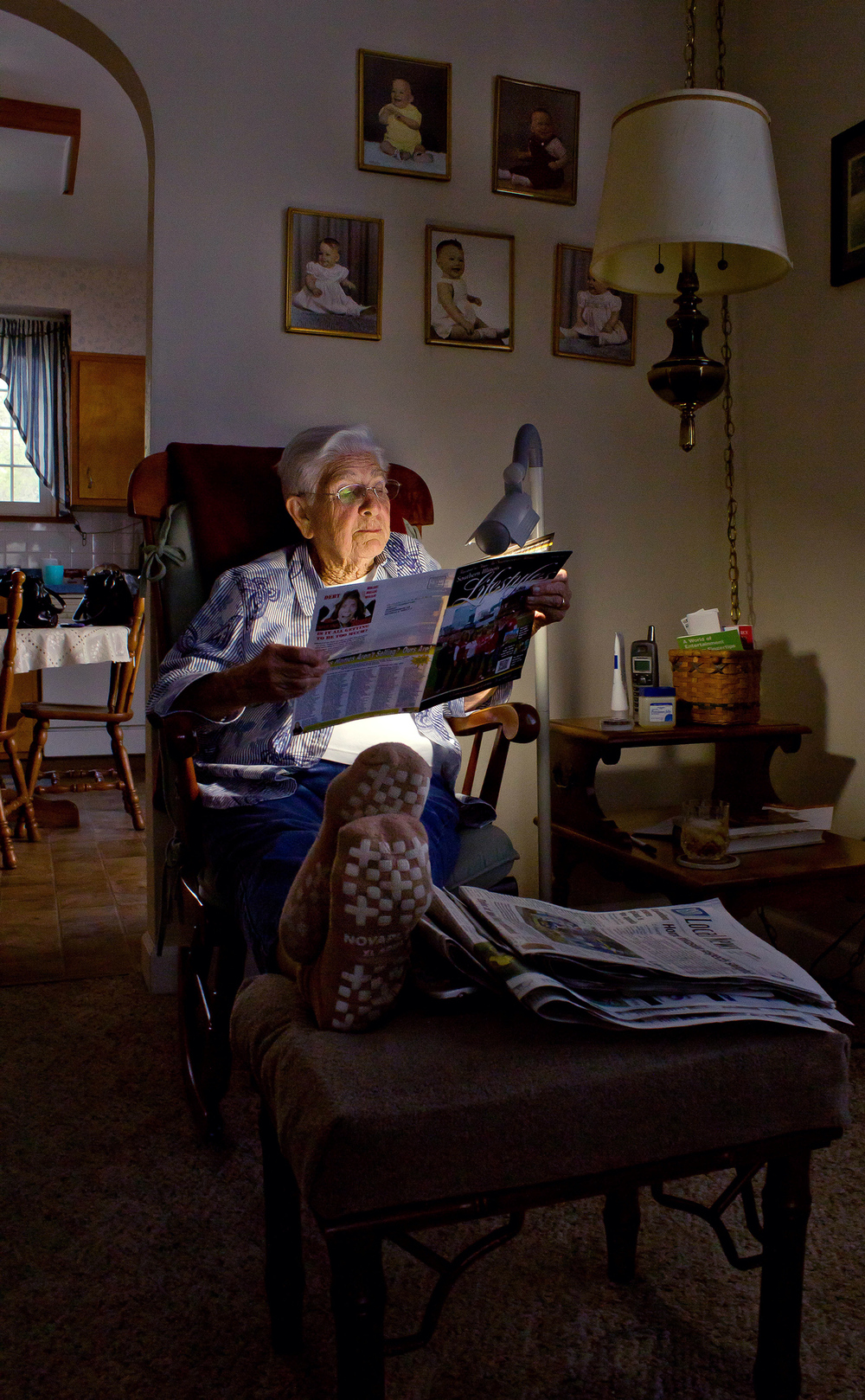 Grandma Madonna sitting in her chair Waterloo, Ill 2010. I miss seeing her waiting at the door after long five hour drives to her house in my family's van. She gave great hugs.