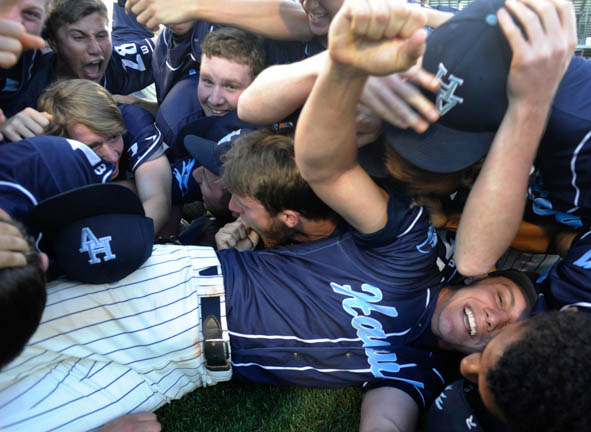 Team members of Hardin Valley Academy pile on top of each other after making the final out during the Division I Class AAA state boys' baseball championship against Farragut Friday, May 22, 2015.