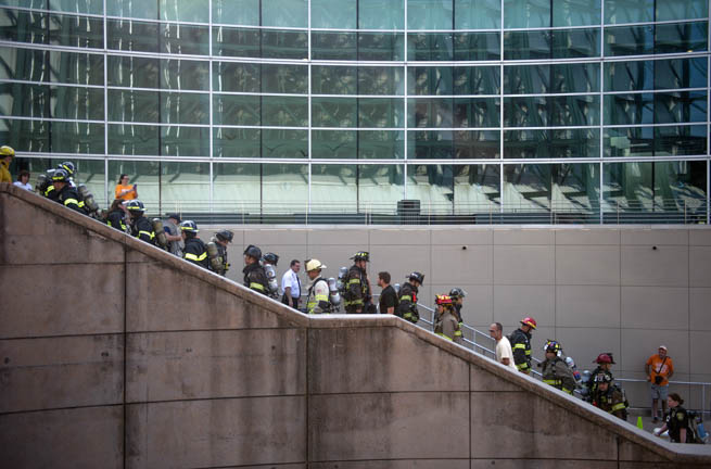 Fire fighters walk the stairs in front of the Convention Center during the 2nd annual National Fallen Firefighters Foundation Knoxville Memorial Stair Climb at the Sunsphere Saturday, Sep. 5, 2015. First responders climbed the equivalent of 110 stories while wearing i.d. tags with photos of firefighters killed in the 9/11 terrorist attack.
