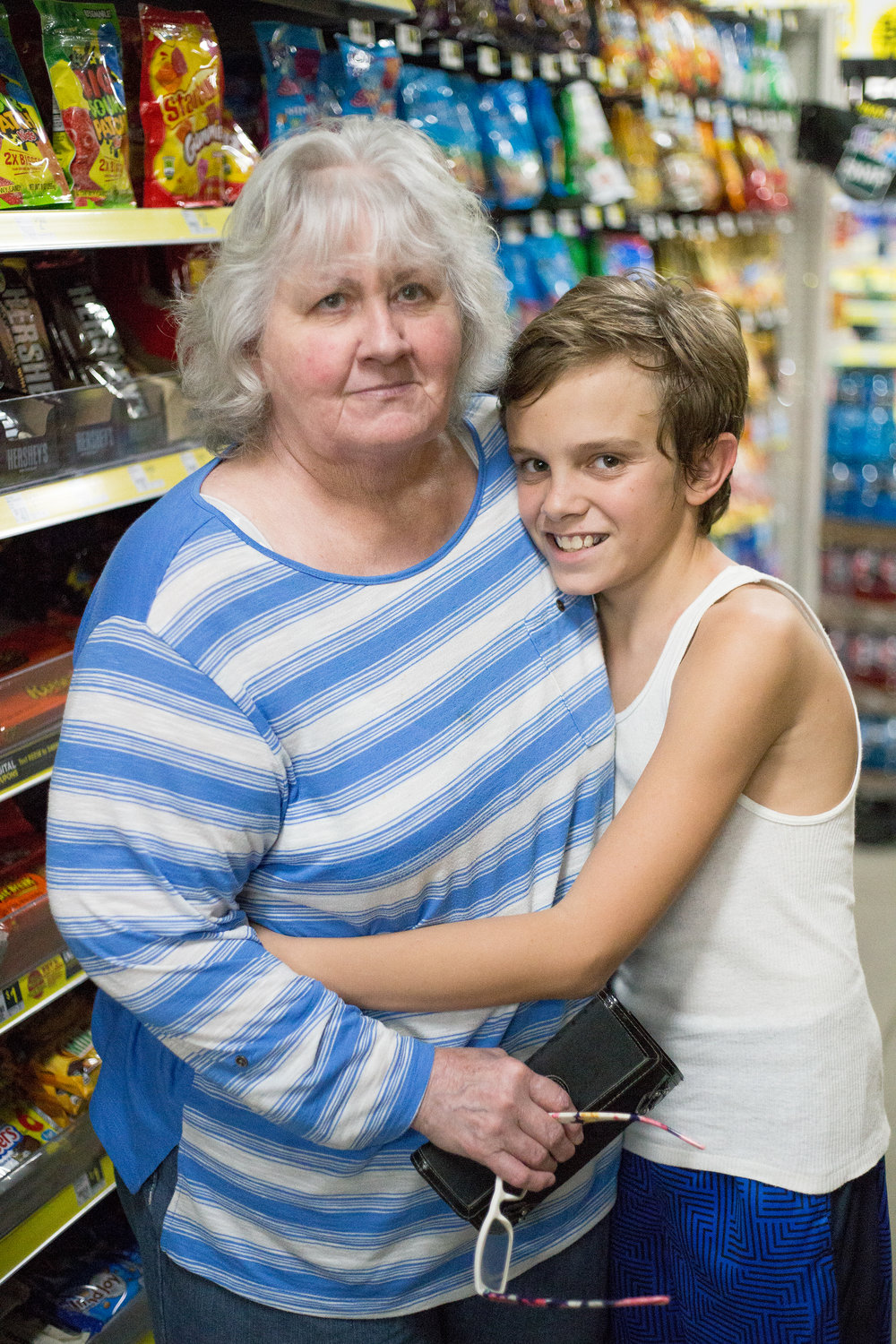 Margie Bunch, left, and her grandson Jayden Wilson, 12, both of Dayton, Tenn. pose for a portrait during a shopping trip at Dollar General in Evensville, Tenn. Thursday, Nov. 16 2017. Bunch said she has been raising Wilson ever since her daughter passed away three years ago.
