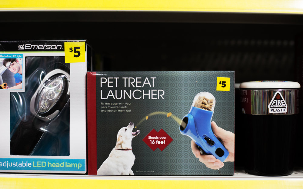 "A ""Pet Treat Launcher"" sits on the shelf at Dollar General in Evensville, Tenn. Thursday, Nov. 16 2017."