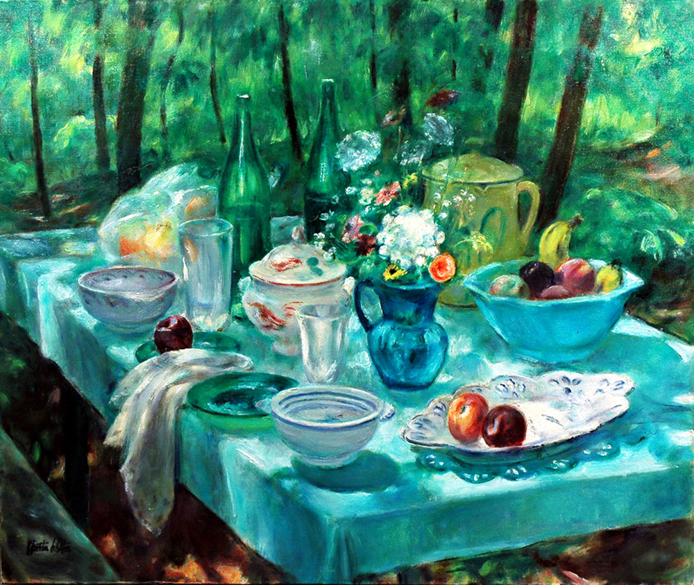 Still life of Picnic Table Outside, 20th Century